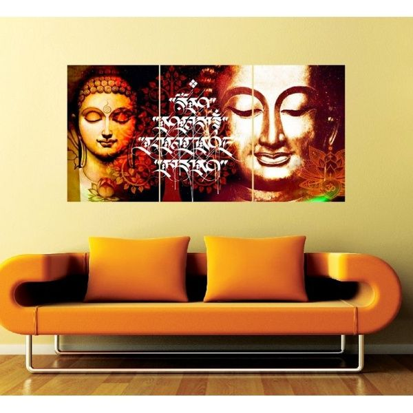 Privy Express Buddha in Meditation Set of 3 Wall Mounted Panels Housewarming Gift Ideas For Couples