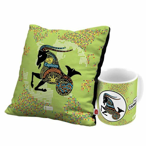 Indigifts Capricorn Zodiac Green Coffee Mug and Cushion Cover with Filler Combo Sweet 16 Gift Ideas