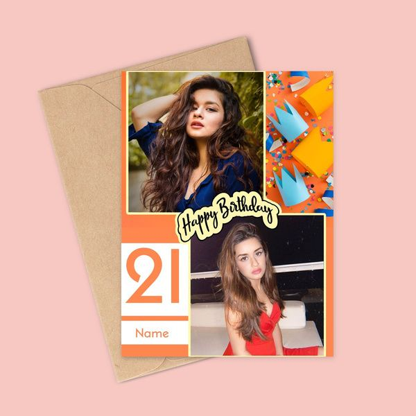 Privy Express Congratulating On 21st Birthday With Personalized Name & 2 Photos Greeting Card Birthday Cards For Girls