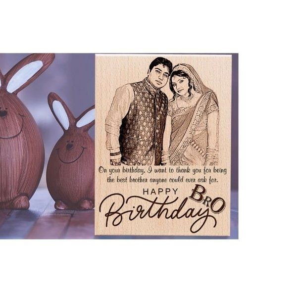 Incredible Gifts Customized Engraved Wooden Frame with Photo and Carved Message Happy Birthday for Brother Big Brother Gift Ideas