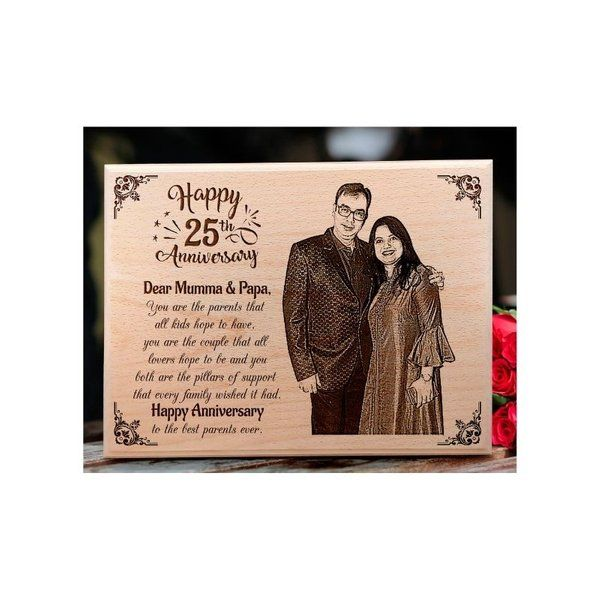 Incredible Gifts Customized Engraved Wooden Photo Plaque for 25th Anniversary for Parents Wedding Anniversary Photo Frames