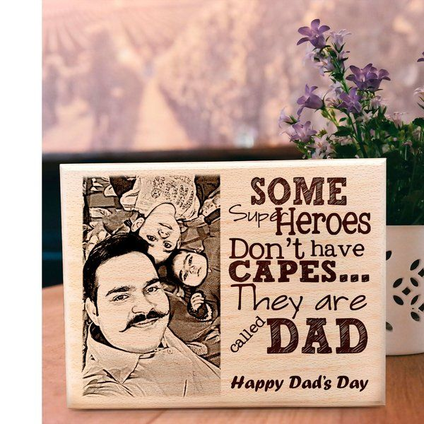 Incredible Gifts Customized Gift-Super Hero Engraved Photo Frame on Wood for Dad Gifts For 60 Year Old Man