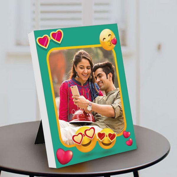 Privy Express Cute Couple Emoji Love Photo Personalized Anniversary Table Photo Frame 6th Month Anniversary Gifts