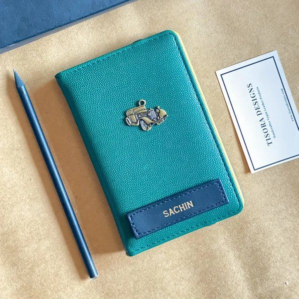 Tisora Designs Dual Tone Emerald-Yellow Passport Cover Gift Ideas For 15 Year Old Boy