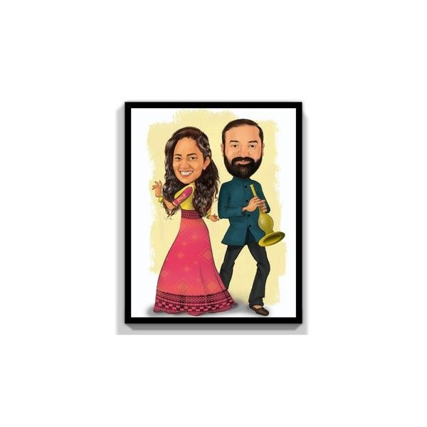 Privy Express Engagement - To Be Together Forever Digital Color Customized Caricature for 2 Persons Personalize Caricature Gifts