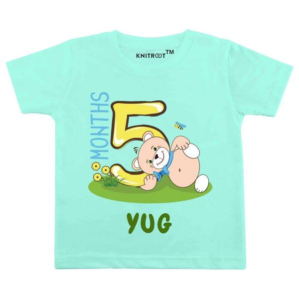 Knitroot Five Month Teddy Bear Theme Baby Wear T-Shirt Monthly Birthday Ideas For Baby