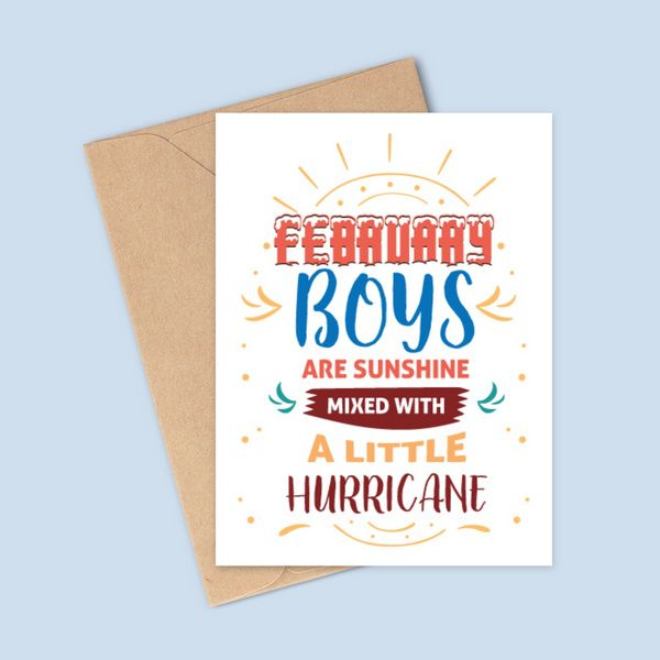 Privy Express Funny February Boys Are Sunshine Mixed With A Little Hurricane Birthday Greeting Card Birthday Cards For Boys