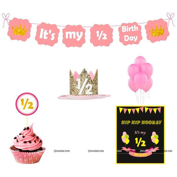 Untumble Girl's Half Birthday Decorations, Six Month Pink Birthday Party kit 6th Month Baby Birthday Ideas