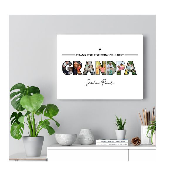 Privy Express Grandpa Name & 7 Photo Personalized Collage Wall Photo Frame 80th Birthday Gift Ideas