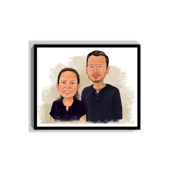 Privy Express Growing Old Together Digital Color Personalized Caricature for 2 Persons Personalize Caricature Gifts