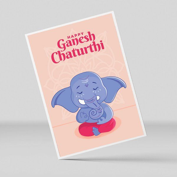 Privy Express Handcrafted Happy Ganesh Chaturthi Art Greeting Card E Greeting Cards