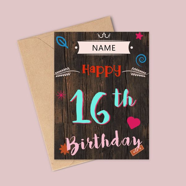 Privy Express Happy 16th Birthday Personalized Name Greeting Card Birthday Greeting Cards