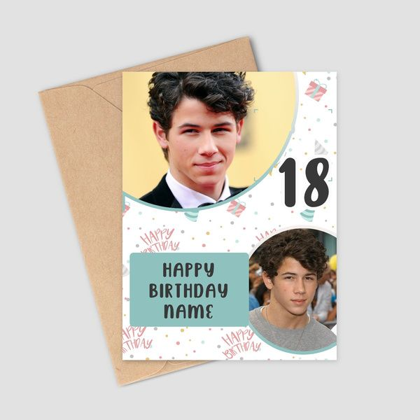 Privy Express Happy 18th Birthday Personalized 2 Photos & Name Greeting Card Birthday Cards For Boys