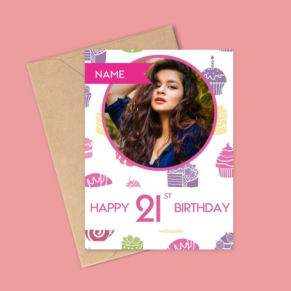Privy Express Happy 21 Years Birthday Customized Name & 1 Photo Greeting Card  Birthday Cards For Girls