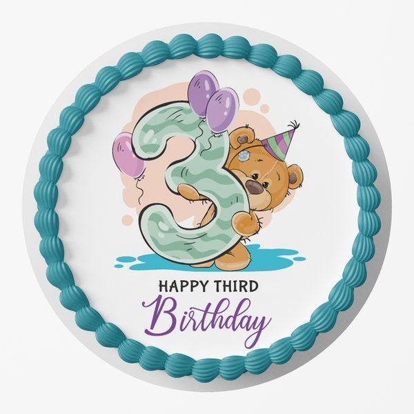 CakeZone Happy 3rd Birthday Designer Photo Cake Gifts For Twin Babies