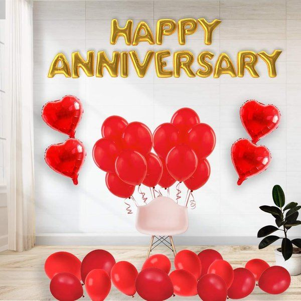 CherishX Happy Anniversary Decoration Kit with Foil Balloon Golden Color for Home Celebration and Surprise Anniversary Decoration Ideas