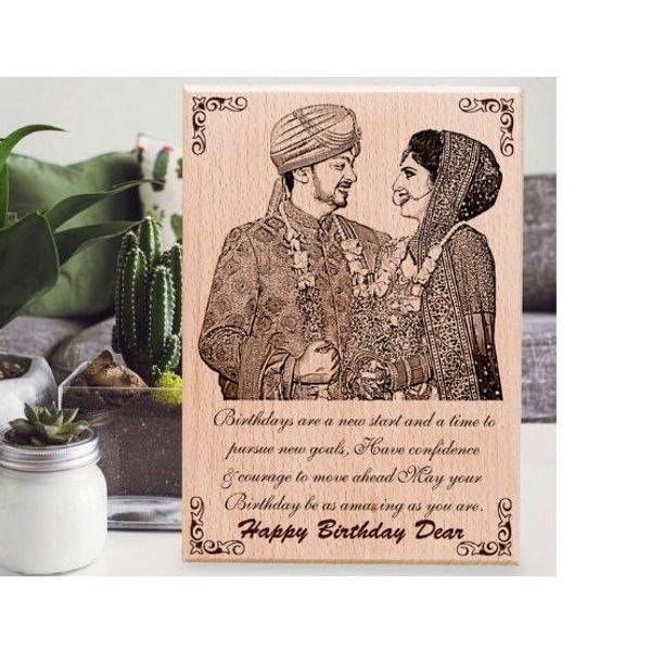 Incredible Gifts Happy Birthday Wooden Personalized Engraved Plaque for Wife Wooden Photo Frames