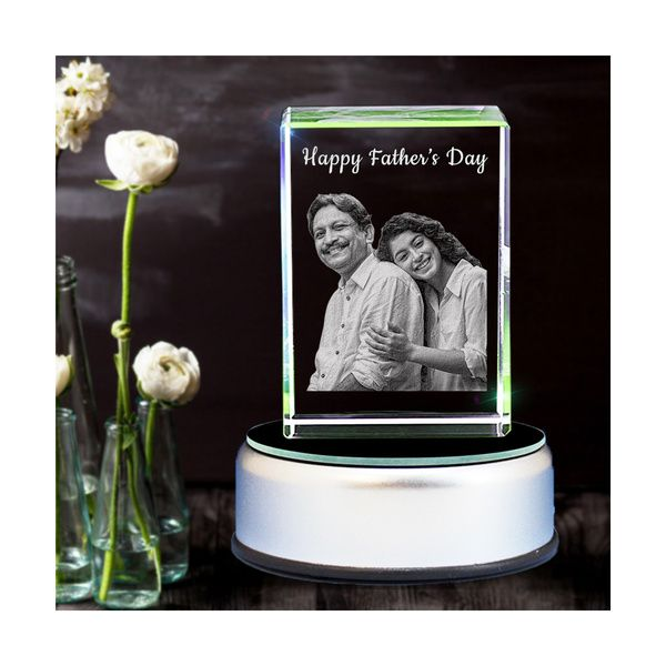 Privy Express Happy Father's Day Photo Personalized Rectangular Crystal   Gift for Father Engraved 3d Crystal Photo Frame