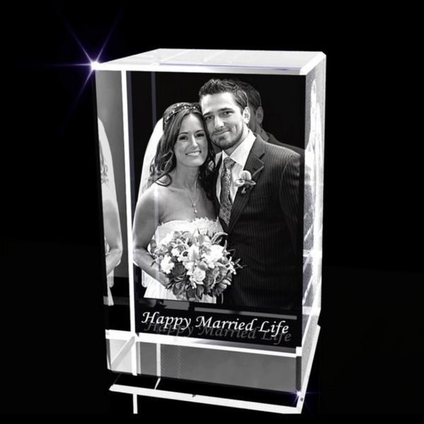 Privy Express Happy Married Life Personalized Rectangle Laser Engraved 3D Crystal  Engraved 3d Crystal Photo Frame