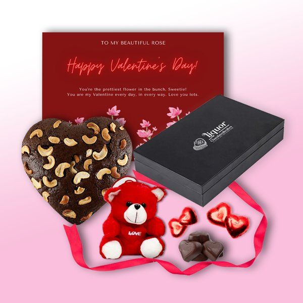 Liquor Chocolates And Cakes Heart Shaped Alcoholic Cake and Box of Heart Shaped Alcoholic Chocolates With Small Teddy Bear and Greeting Card Combo Anniversary Gift Hampers