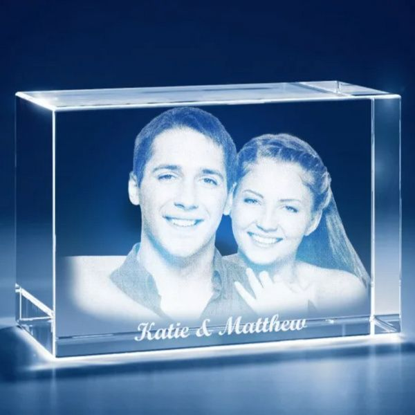 Privy Express Husband & Wife Name Customized Cube Laser Engraved 3D Crystal  Wedding Anniversary Photo Frames
