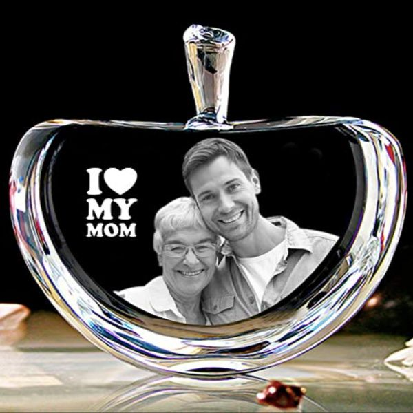Privy Express I Love My Mom Personalized Apple Crystal Laser Engraved 3D Crystal  Birthday Gift Ideas For Mom