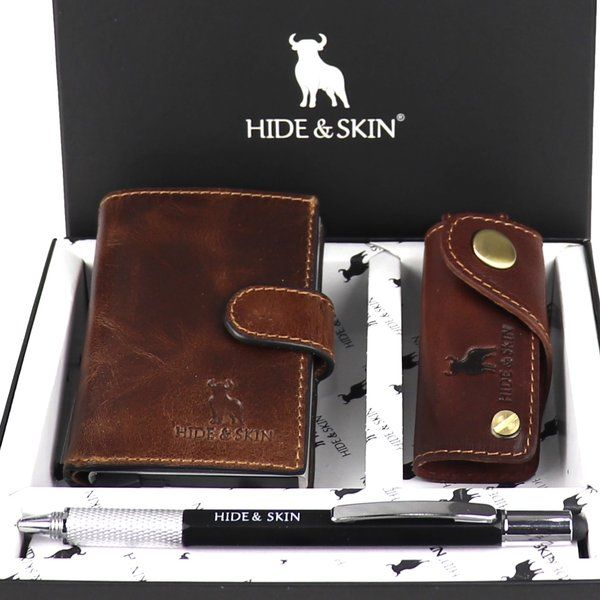 Hide & Skin Italian Brown Leather Card Holder, Italian Brown Leather Keychain and Multi functional Pen Combo Box Gifts For 60 Year Old Man