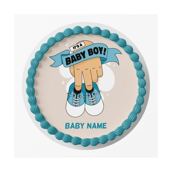 CakeZone It's a Baby Boy Name Personalized Boys Birthday Designer Photo Cake Babies Birth Announcement