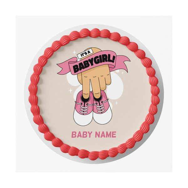 CakeZone It's a Baby Girl Name Personalized Girls Birthday Designer Photo Cake Babies Birth Announcement