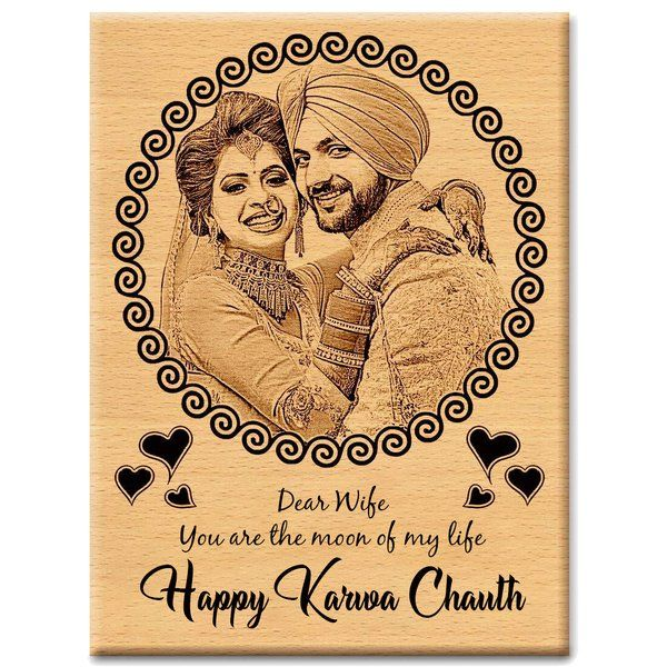 Incredible Gifts Karwachauth Unique Gifts for Wife Special Personalized Engraved Photo Wooden Photo Frames