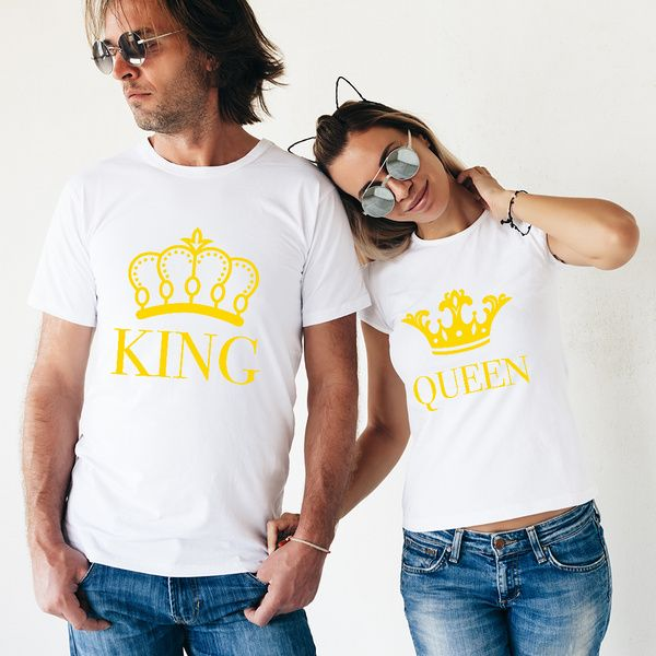 Privy Express King and Queen Classy Printed Cotton Crew Round Neck Couple T-shirts Couple T Shirts