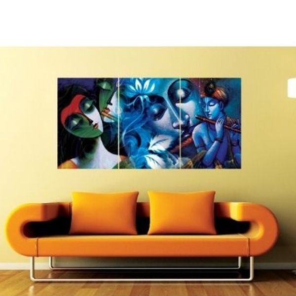 Privy Express Krishna with Flute Set of 3 Wall Mounted Panels Housewarming Decoration Ideas