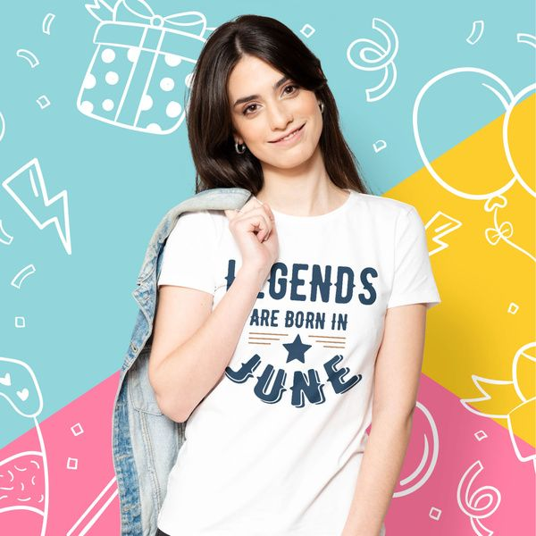 Privy Express Legends Are Born in June Stamp T-shirt - Women Women Printed Tshirts