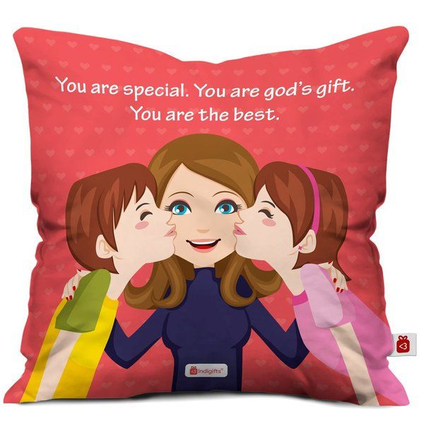 Indigifts Mom Love Quote Printed Cushion Cover with Filler Gifts For 40 Year Old Woman