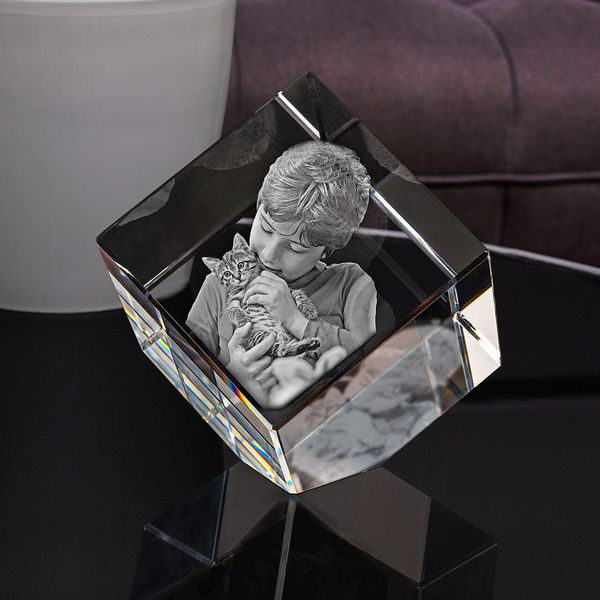 Privy Express Naughty Son Customized Cube Crystal Cut Laser Engraved 3D Crystal  Engraved 3d Crystal Photo Frame