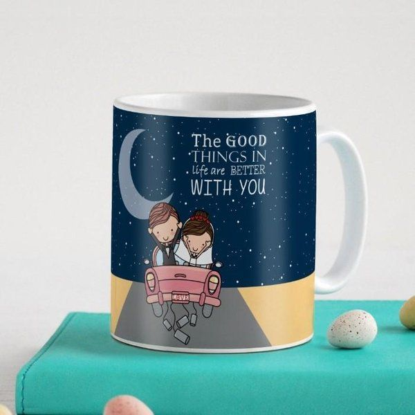 Indigifts Newly Weds Happy Married Couple On A Ride Blue Coffee Mug 5th Wedding Anniversary