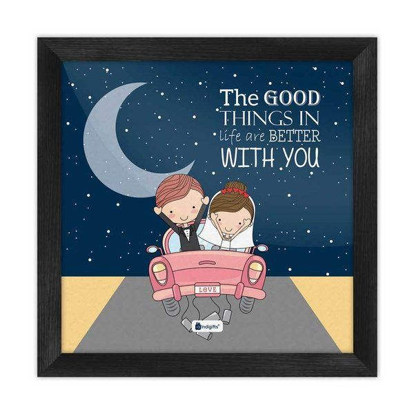 Indigifts Newly Weds Happy Married Couple On A Ride Blue Poster Frame  marriage Gift Ideas