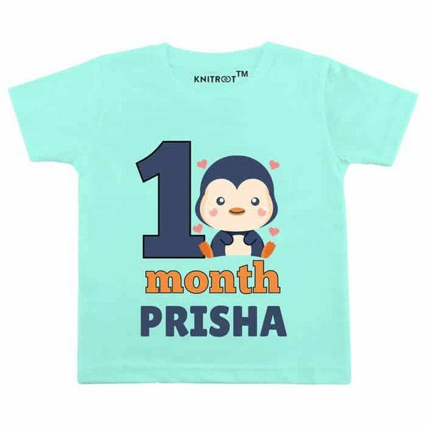 Knitroot One Month Penguin Theme Baby Wear T-Shirt Baby 1 Month Birthday