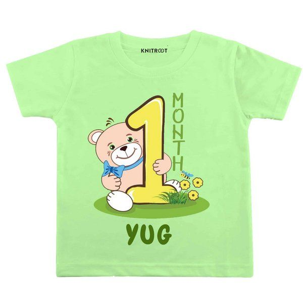 Knitroot One Month Teddy Bear Theme Baby Wear T-Shirt Baby 1 Month Birthday