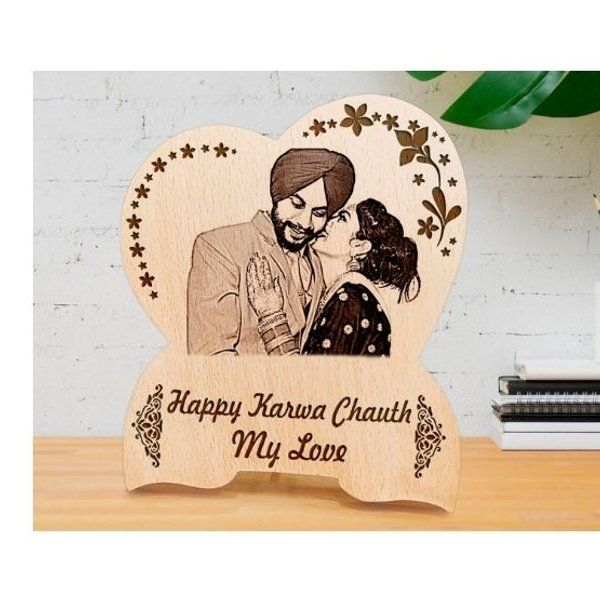 Incredible Gifts Personalized Engraved Wood Photo Frame - Karwachauth Gift Items for Her Wooden Photo Frames