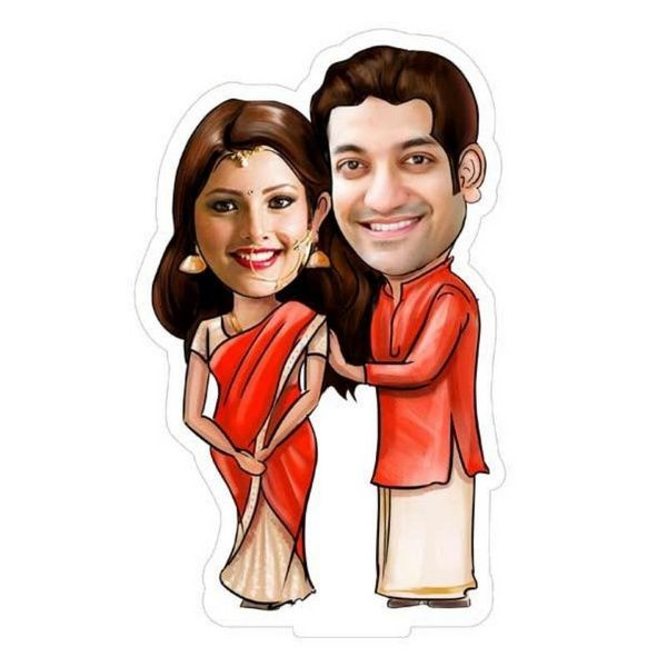 Privy Express Personalized Happy Couple Caricature (South Indian style) Personalize Caricature Gifts