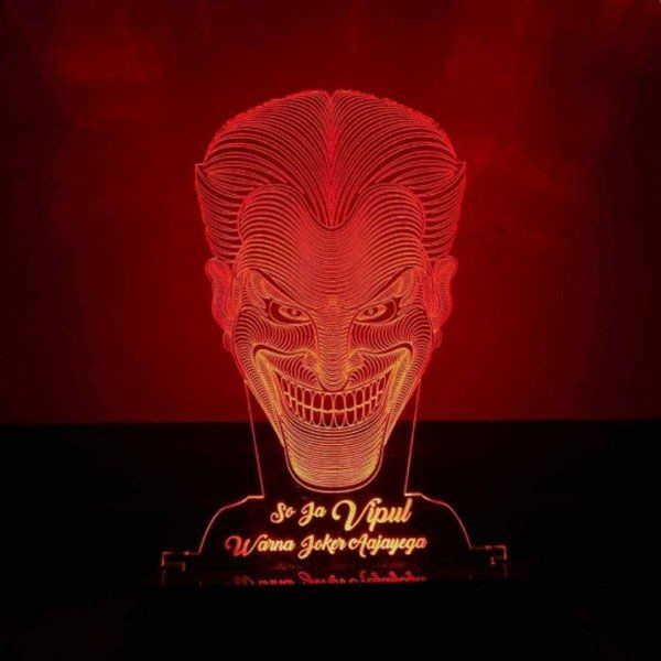 Dezains Personalized LED Night Lamp - 3D Joker (Red) Birthday Gifts For 15 Year Old Boy