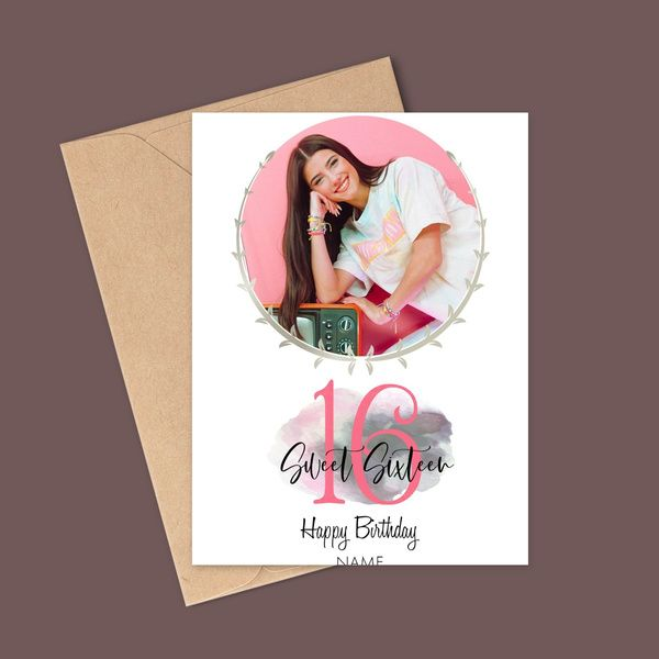 Privy Express Personalized Photo & Name Greeting Card For 16th Bithday Wishes Birthday Cards For Girls