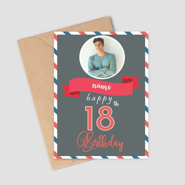 Privy Express Personalized Photo & Name Greeting Card For 18th Birthday Wishes Birthday Cards For Boys