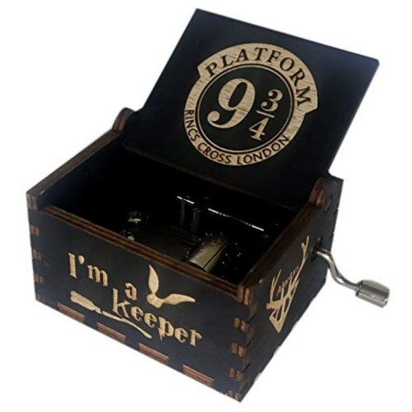 zestaindia Platform 9 3/4 Wooden Hand Cranked Collectable Engraved Music Box Gift Ideas For 15 Year Old Boy