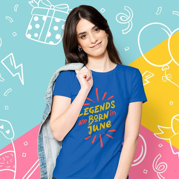 Privy Express Popculture Legends are Born in June Birthday T-shirt - Women Women Printed Tshirts