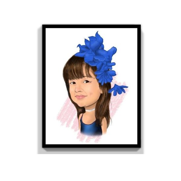 Privy Express Pretty & Innocent Kid Digital Color Personalized Caricature for 1 Person Personalize Caricature Gifts