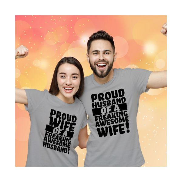 Privy Express Proud Husband & Wife Funny Couple T-shirt Outfit | Cotton | Crew Round Neck Couple T Shirts