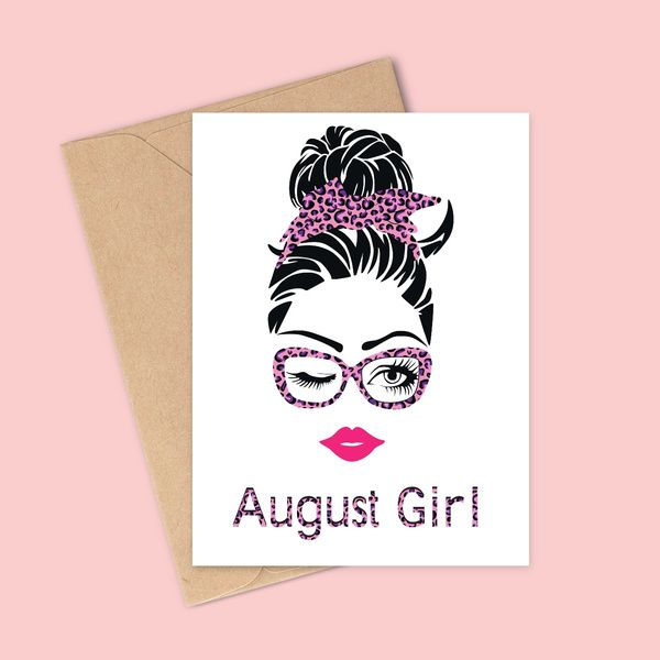 Privy Express Quirky August Girl Birthday Greeting Card Birthday Cards For Girls