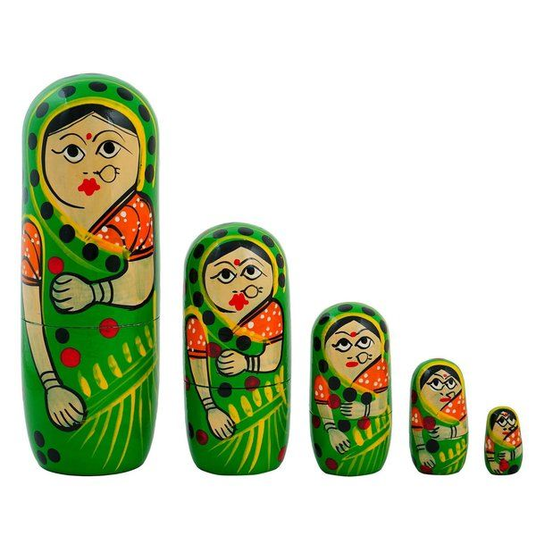 FineCraftIndia Russian Matryoshka Stacking Nested Wooden Dolls Green Housewarming Gift Ideas For Couples